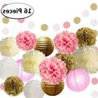 16Pcs Pink and Gold Party Supplies for Baby Shower Birthday