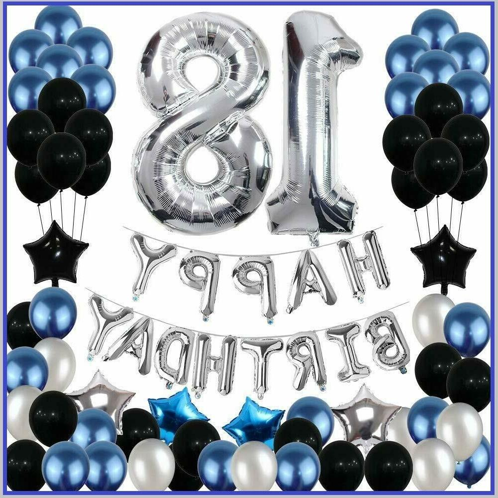18Th Birthday Decorations Party Balloons BLUE SILVER For Gir
