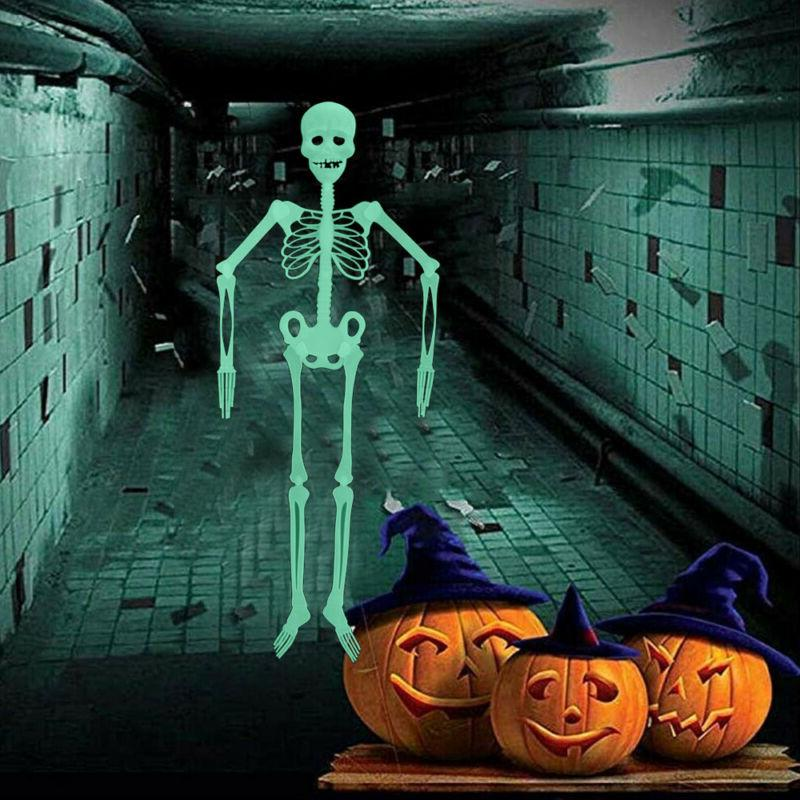 1× 90CM Halloween Scary Props Luminous Hanging Skeleton Out