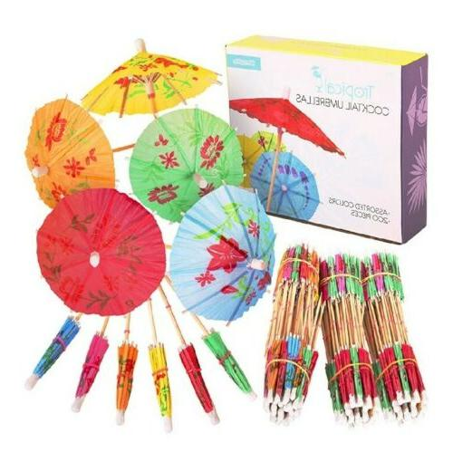 200 pack tropical cocktail umbrellas assorted colors