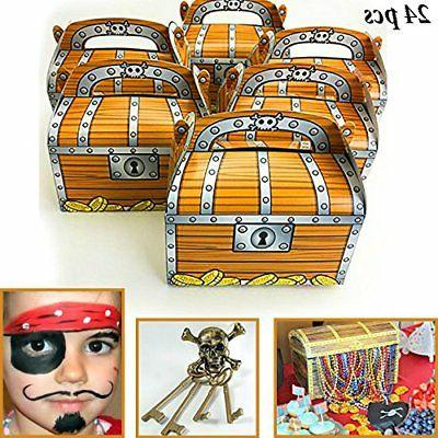 24 pack pirate treasure chest decoration party