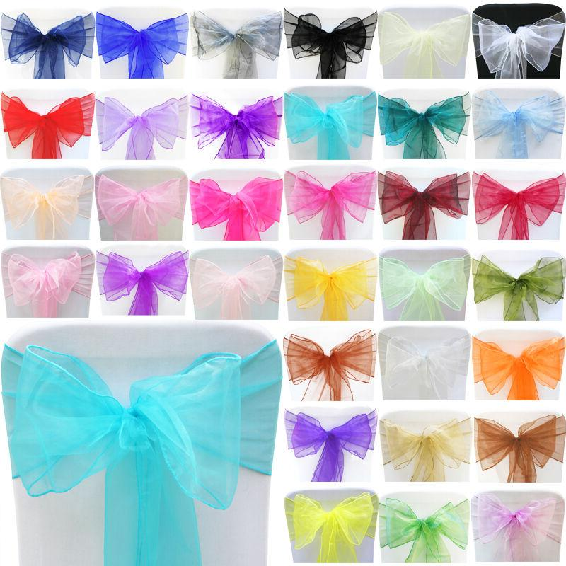 25/50/100PCS Organza Chair Cover Sash Bow Wedding Party Rece