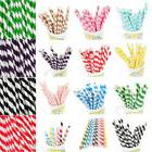 25 PCS Colorful Striped Paper Drinking Straws For Wedding Bi