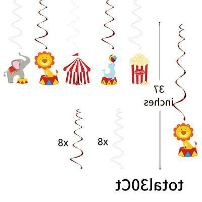 30Ct Hanging Decorations Carnival Birthday Party Supplies
