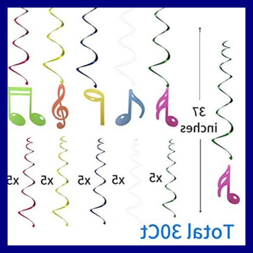 30Ct Colorful Music Hanging Birthday Party Supplies D