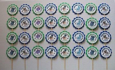 32 PUPPY DOG PALS-Blue//Green Personalized Birthday Cupcake Toppers Party Favor