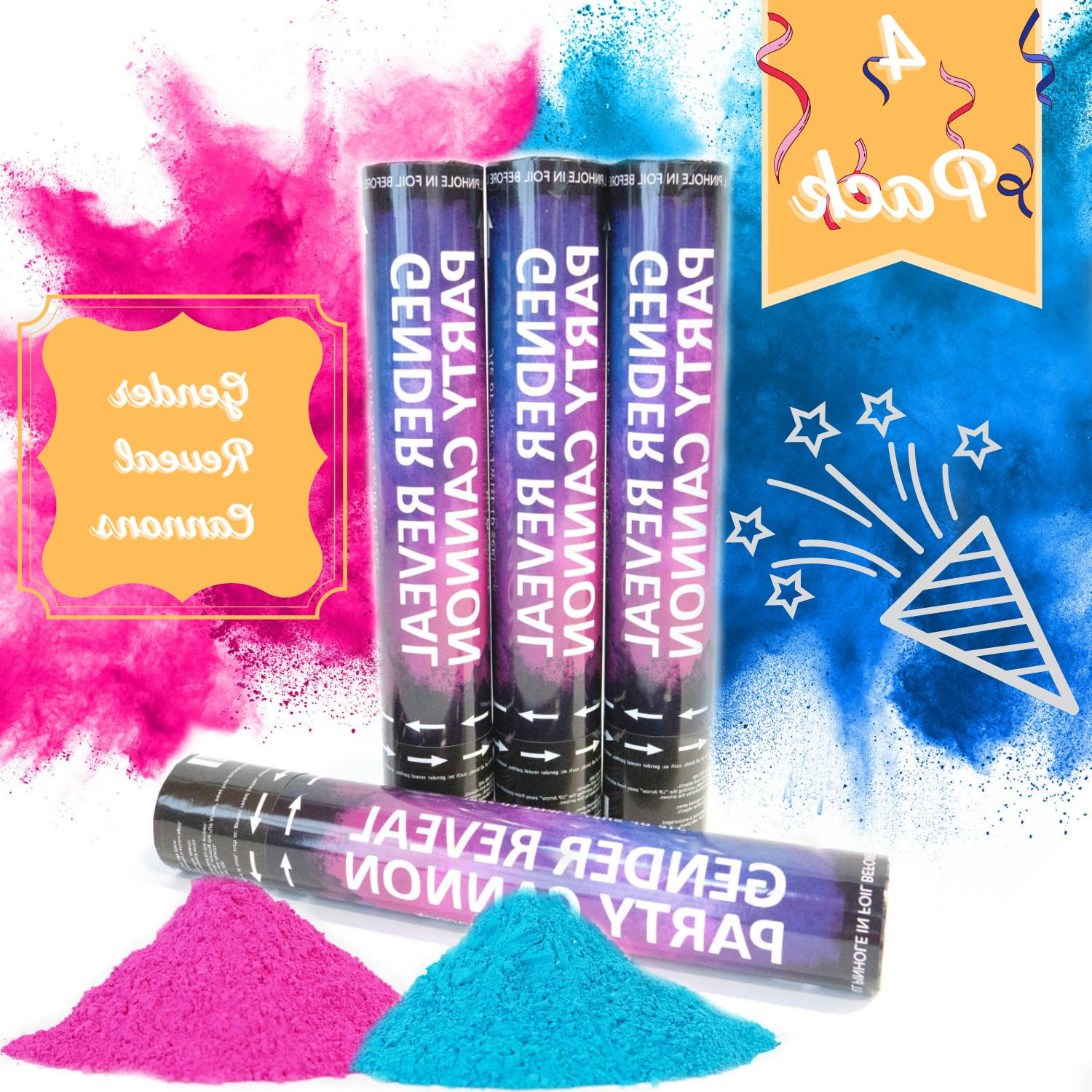 4 baby gender reveal powder cannons air