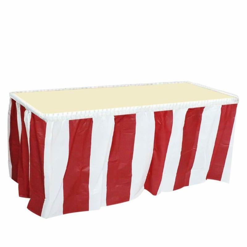 Jinsey 4 Pack Red And White Striped Table Skirt Carnival Cir
