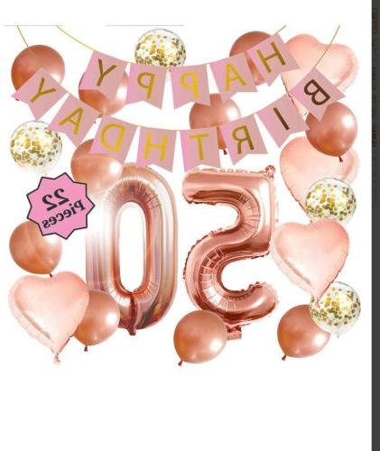 50th birthday decorations rose gold banner heart