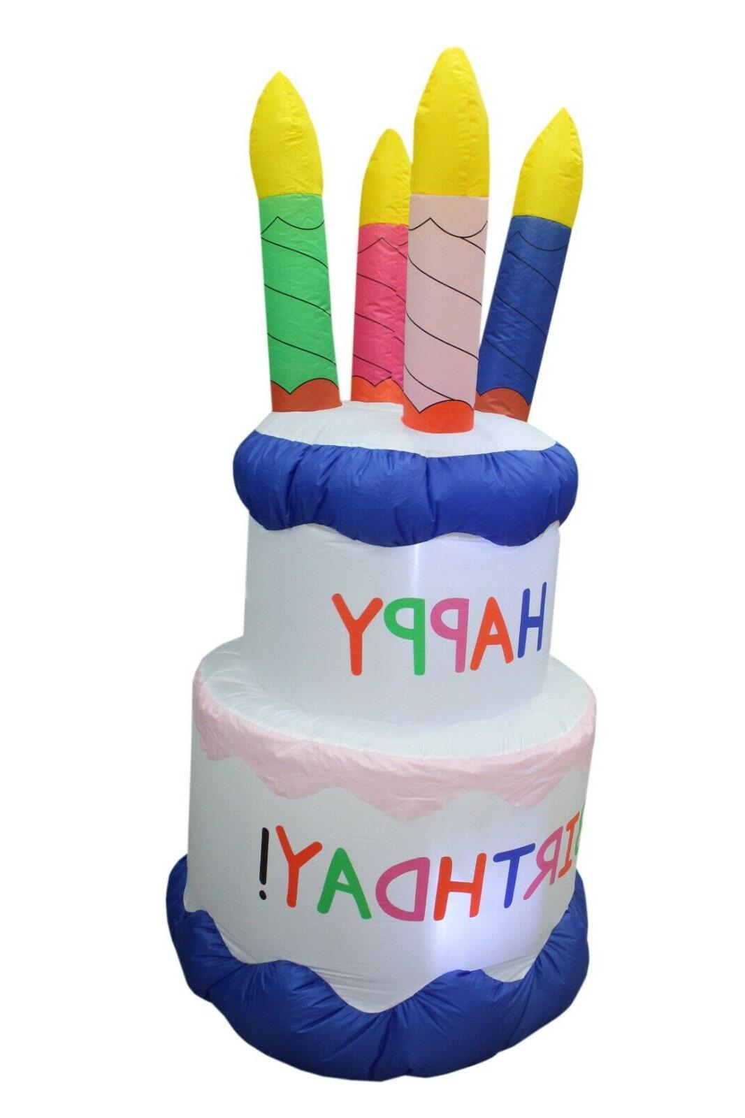 6 HAPPY BIRTHDAY CAKE CANDLES PARTY OUTDOOR LAWN