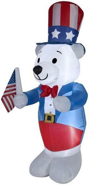 Gemmy 6' White Fourth of July Bear Spring Inflatable