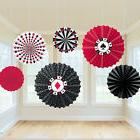 6 x Casino hanging Paper Fans Party Decorations Playing Card