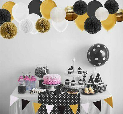 Paxcoo 69 Pcs Black and with and Pom