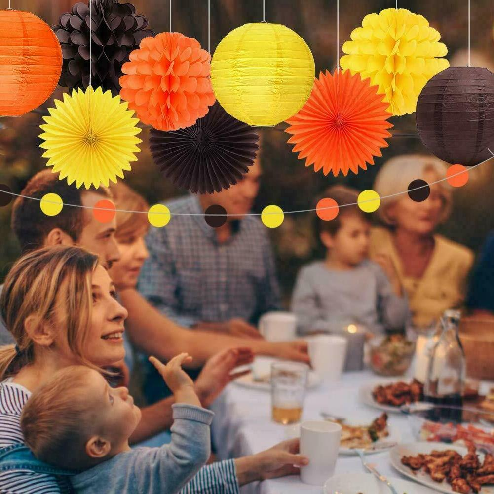 6pcs Day Party Decorations Yellow Brown