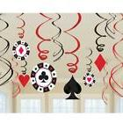 9pcs Casino Party hanging whirl swirl haning decorations Pok