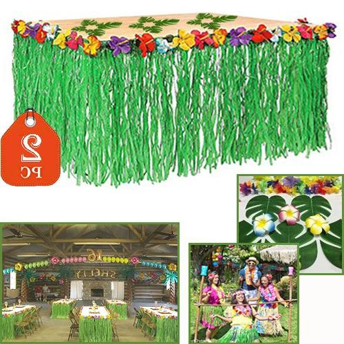 Adorox 2 Table Skirt Hawaiian Luau Hibiscus Green Table Skir
