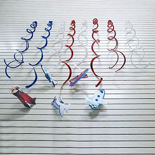 CC HOME Supplies,Airplane Swirl Twinkle Hanging Streamer Decoration Airplane Party Favor Supplies Kids Girls Birthday Party ,Baby Home Classroom Air