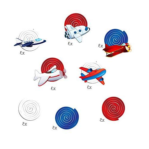 CC HOME Airplane Party Supplies,Airplane Swirl Twinkle Ceiling Streamer Decoration Themed Party Kids Girls Party ,Baby Shower Home Airplane