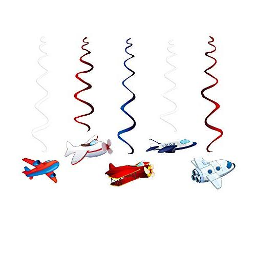 CC Airplane Supplies,Airplane Swirl Decoration Twinkle Ceiling Decoration Airplane Themed Birthday Party Favor Supplies Kids Girls Party Shower Home Classroom Air Show