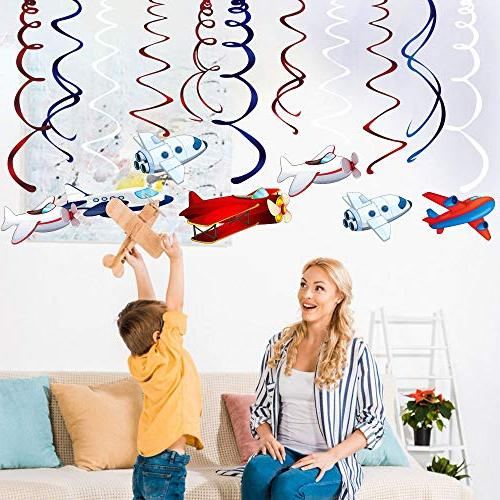 CC Supplies,Airplane Hanging Swirl Decoration Twinkle Decoration Airplane Party Kids Boys Girls Birthday Party Shower Home Classroom Decor Air Show