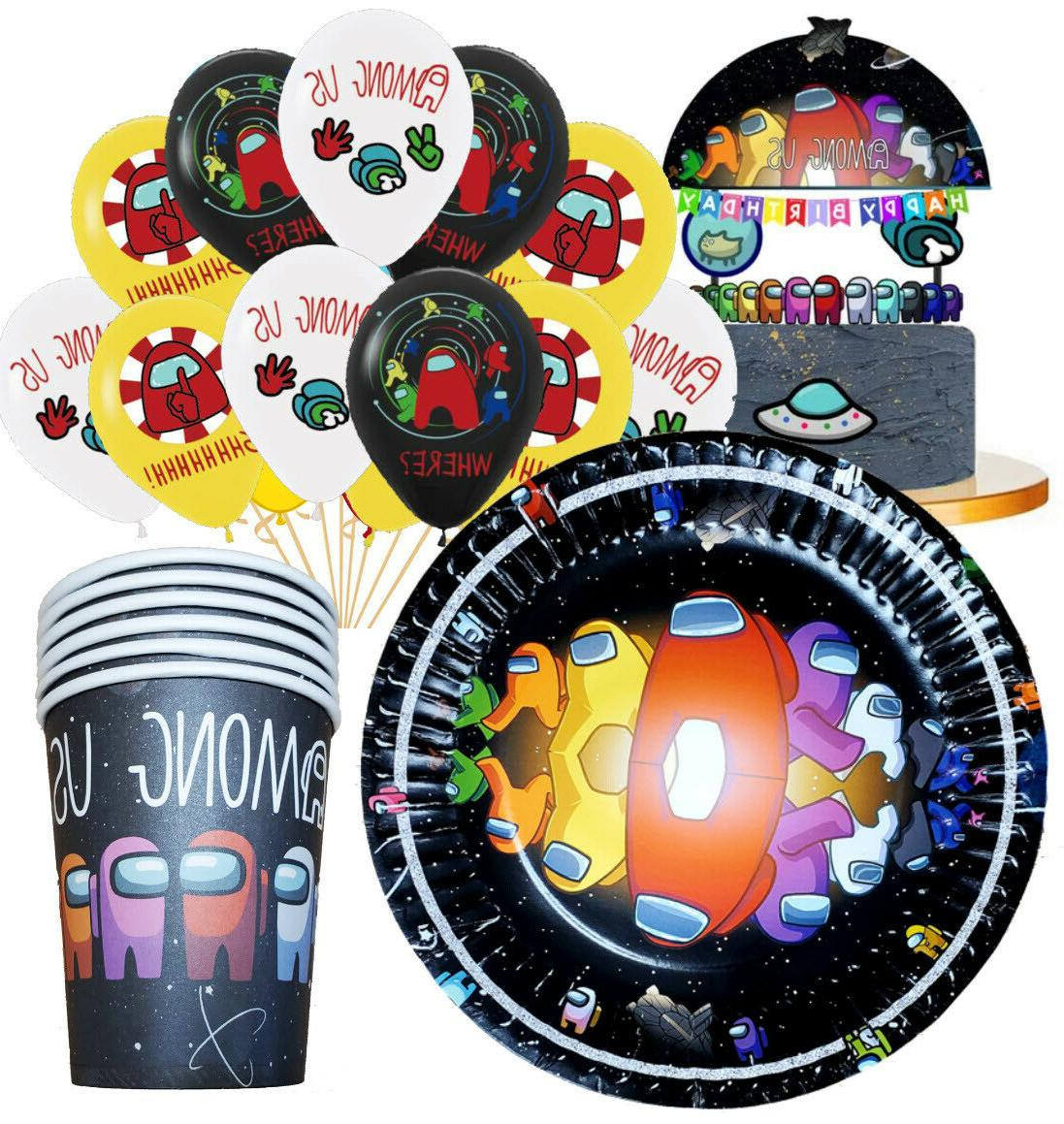 among us balloon cupcake topper party decoration