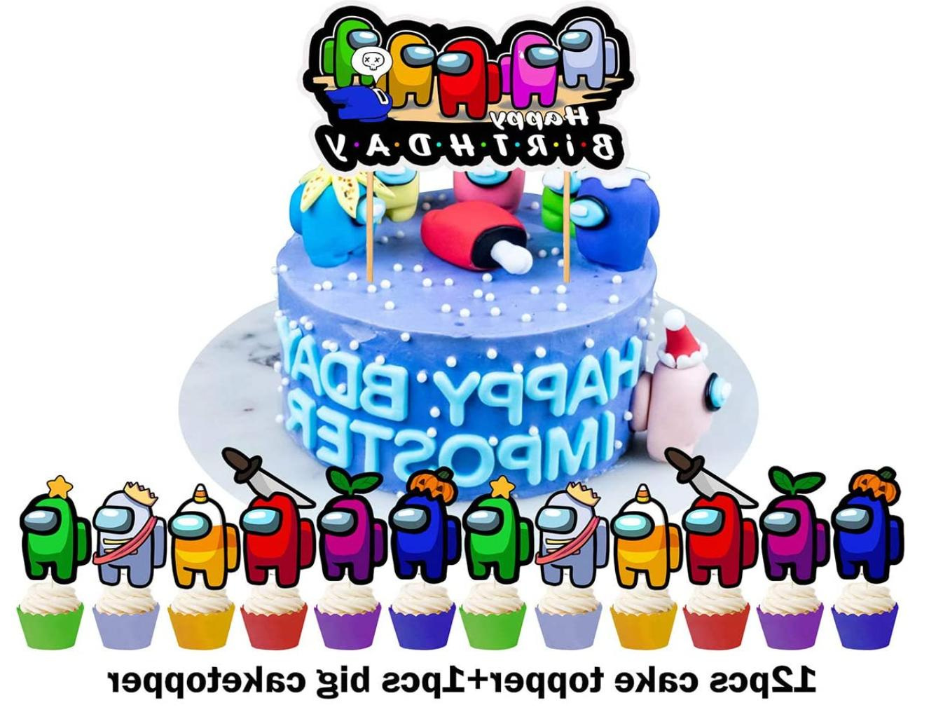 AMONG Party Decoration Birthday Banner, Balloons,
