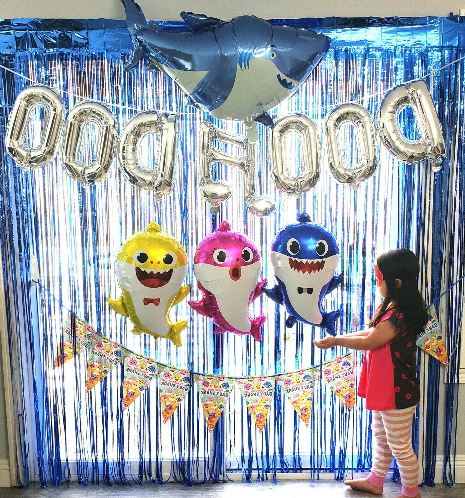 baby shark party supplies balloon banner decoration