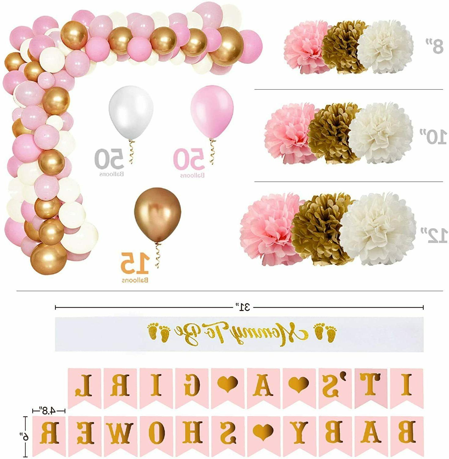Baby Decorations Girl Balloons Poms Garland Decor