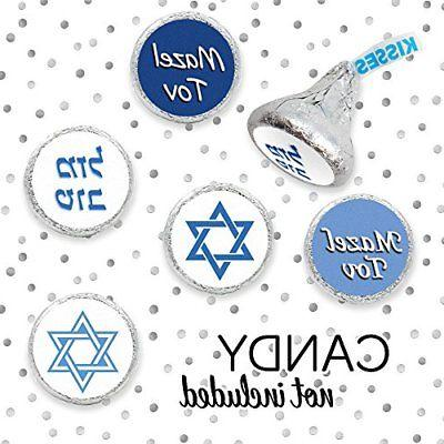 Bar Mitzvah Mazel Candy Stickers BLUE Of 324
