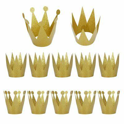 Birthday Party Hats,12 Pack Gold Birthday Crown Hats,Kids an