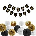 Paxcoo Black and Gold Birthday Party Decorations with Birthd
