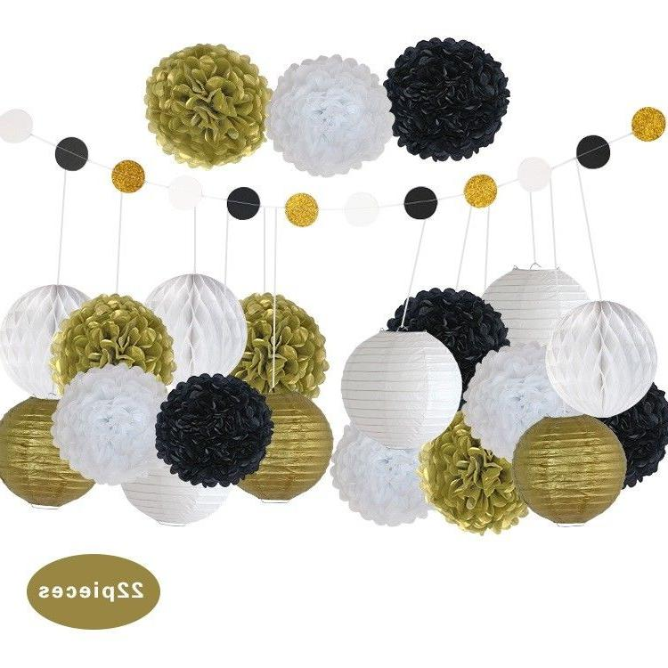Black And Gold Party Decorations Wedding