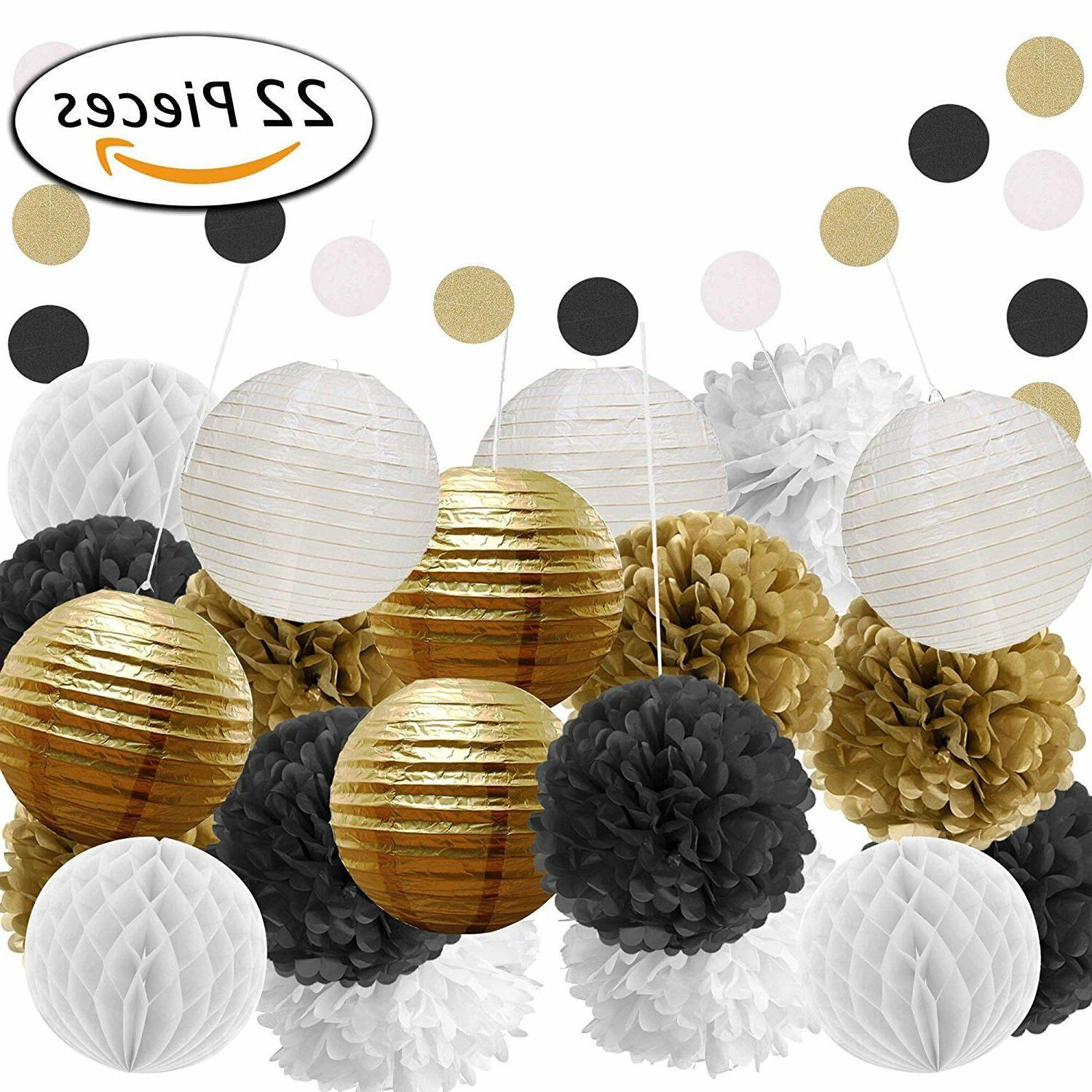black and gold party decorations for birthday