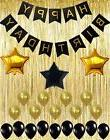 Black and Gold Decoration Kit, Gold Metallic Foil Fringe Shi