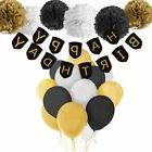 Paxcoo Black and Gold Party Decorations with Happy Birthday