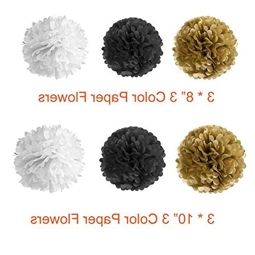 Paxcoo 52 Pcs and Gold with Balloons Tissue Poms Tas