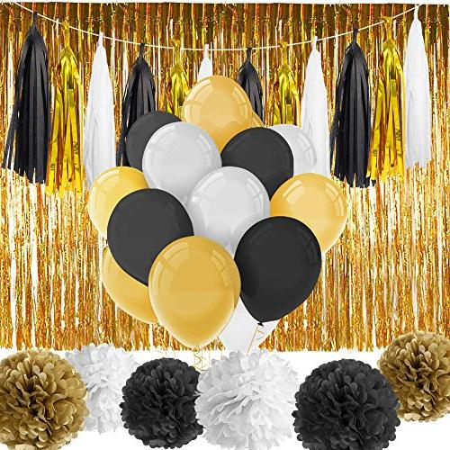 Paxcoo 52 Black and Party with Balloons Tissue Poms
