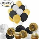 Paxcoo 73 Pcs Black And Gold Party Decorations With Balloons