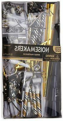Amscan Black Gold Silver New Year's Eve Party Horns Blowouts