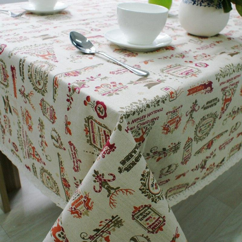 Christmas Theme Linen Table Cloth with Lace Reindeer Print M