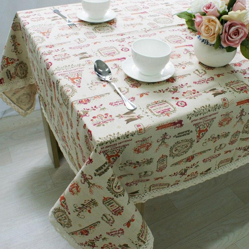 Christmas Theme Linen Cloth Lace Print Cover