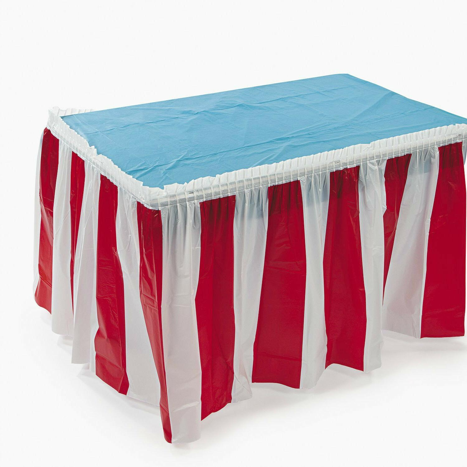 CIRCUS CARNIVAL Big Top Decoration Pleated RED and WHITE STR