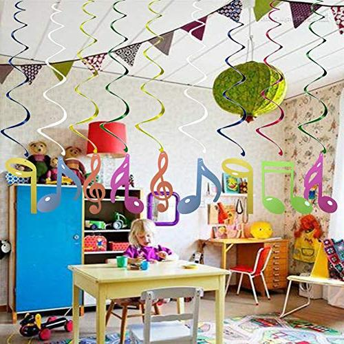 30Ct Colorful Hanging Music Birthday Supplies Fan Decors