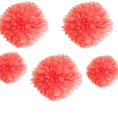coral party tissue paper pom