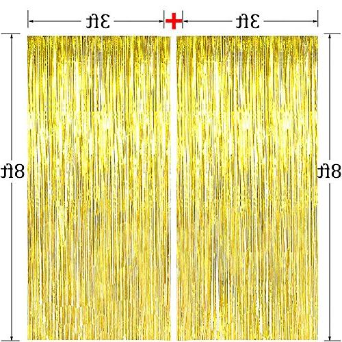 3 Pack Fringe Curtain Tinsel Party Gold Backdrop Drop for Party, Birthday Banner and String