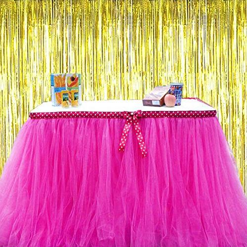 3 Pack Party Fringe Backdrops Party Backdrop Wall Drop Curtains, Streamers for Birthday Banner and String
