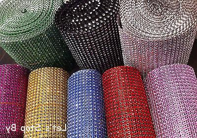 Diamond Rhinestone Ribbon Mesh Wrap Wedding Party Floral Dec