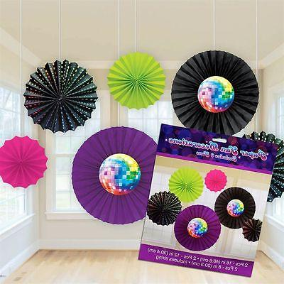 Disco 1970's Party Supplies PAPER FAN DECORATION Groovy Nigh