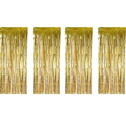 foil curtains metallic fringe