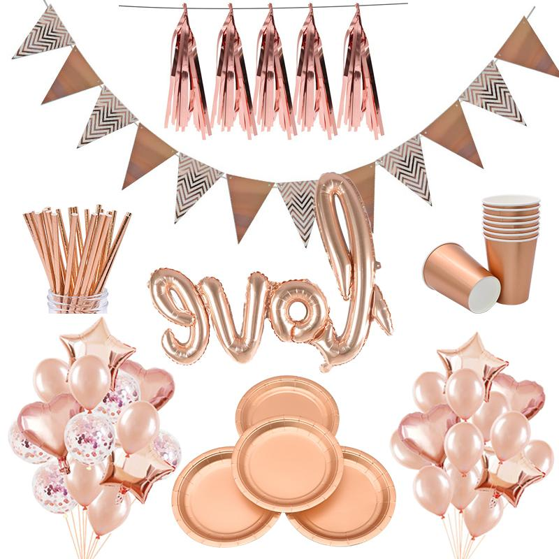 <font><b>Party</b></font> Tableware Rose Gold Paper Plate Straws Supplies for Kid <font><b>Birthday</b></font> <font><b>Party</b></font> <font><b>Decor</b></font> Baby